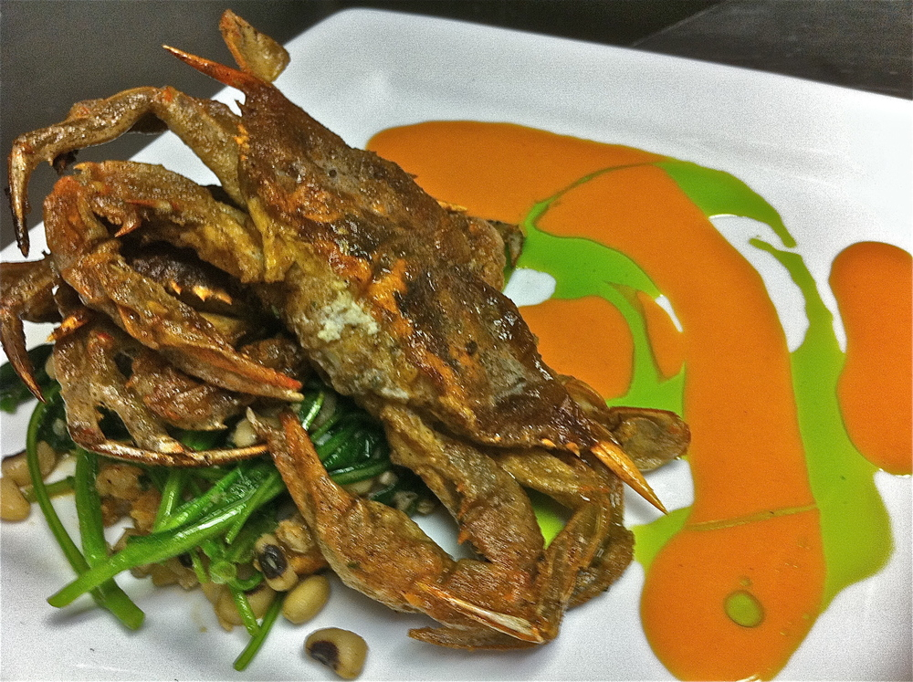 Soft Shells, Pea Tendrils, 2 Sauces