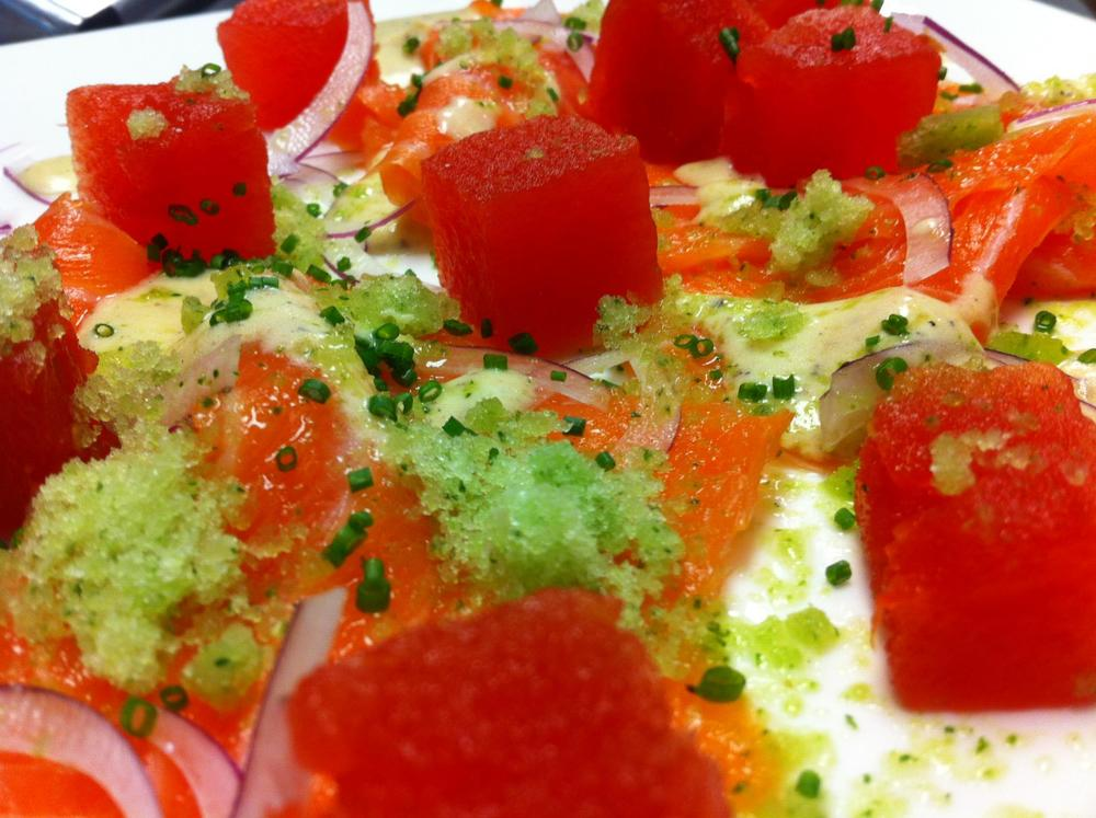 Watermelon, Salmon, Cucumber Ice