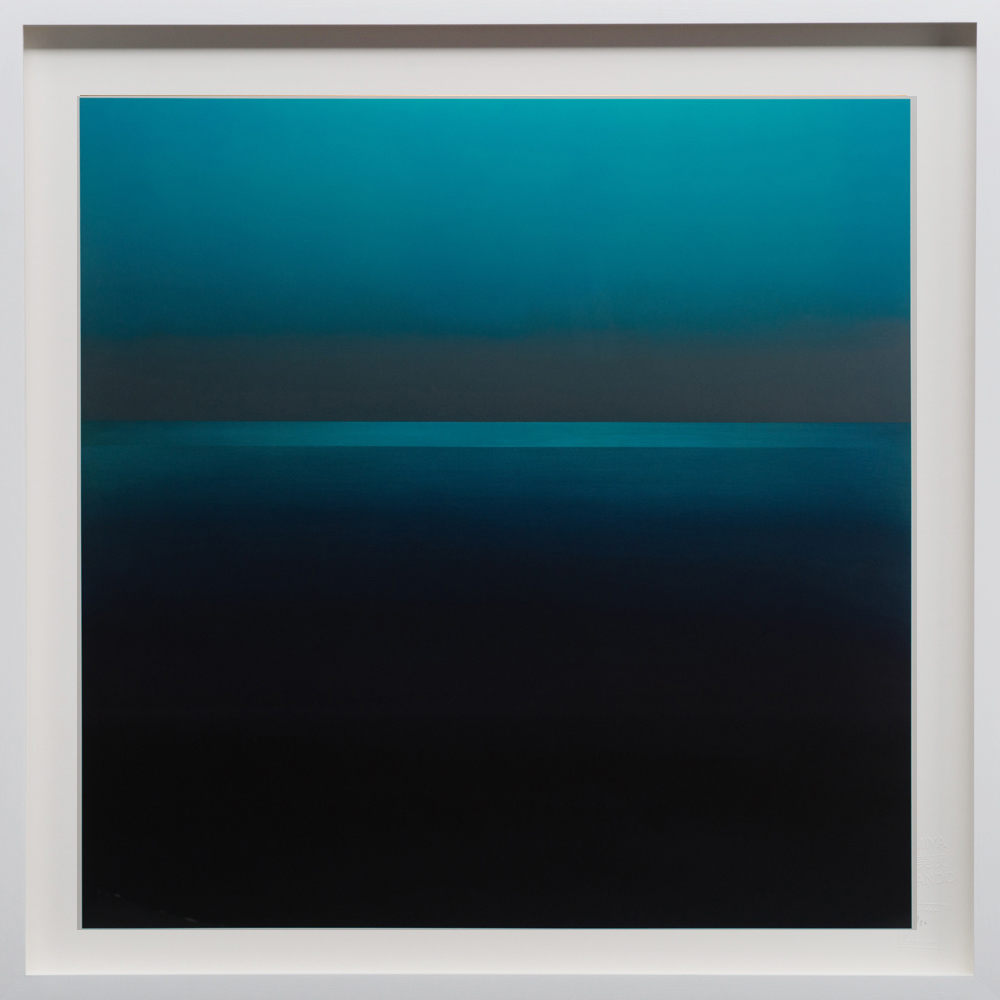 """Blue, 2018, 48""""sq. print size/ 49""""sq. frame size, Archival pigment print on acid free rag paper (stamped/numbered), framed in classic white wood frame. Edition of 50.  $4,100 unframed / $4,500 framed"""