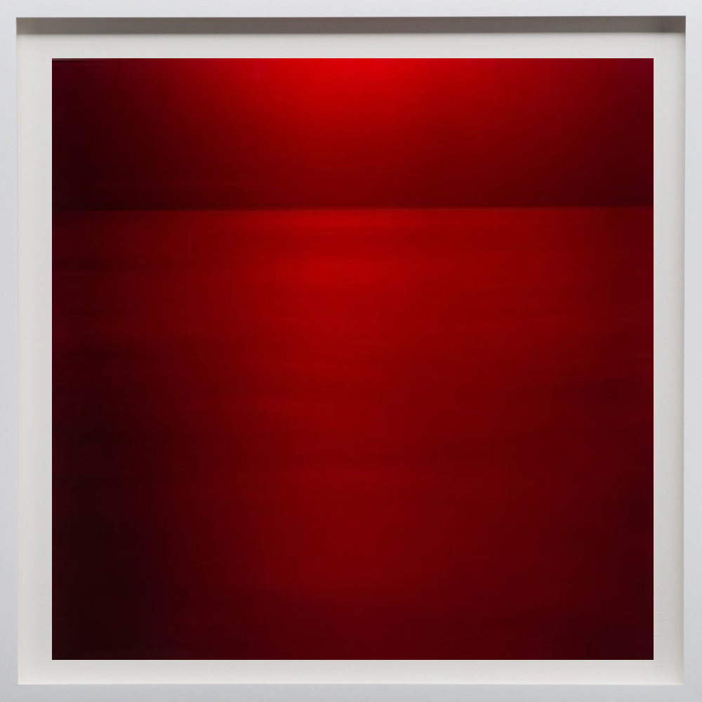 """Red, 2018, 24""""sq. print size/ 25""""sq. frame size, Archival pigment print on acid free rag paper (stamped/numbered), framed in classic white wood frame. Edition of 50.  $2,100 unframed / $2,500 framed"""