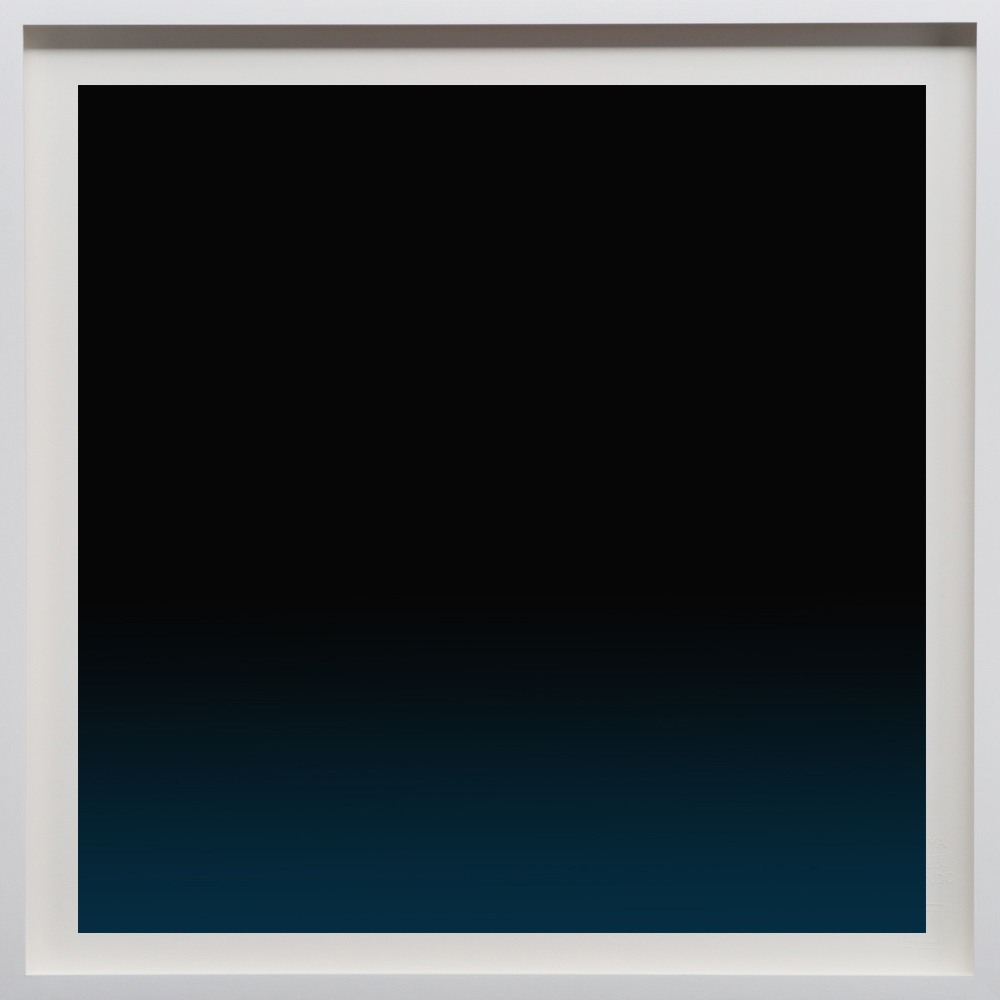 """Blue/Black, 2018, 24""""sq. print size/ 25""""sq. frame size, Archival pigment print on acid free rag paper (stamped/numbered), framed in classic white wood frame. Edition of 50.  $2,100 unframed / $2,500 framed"""