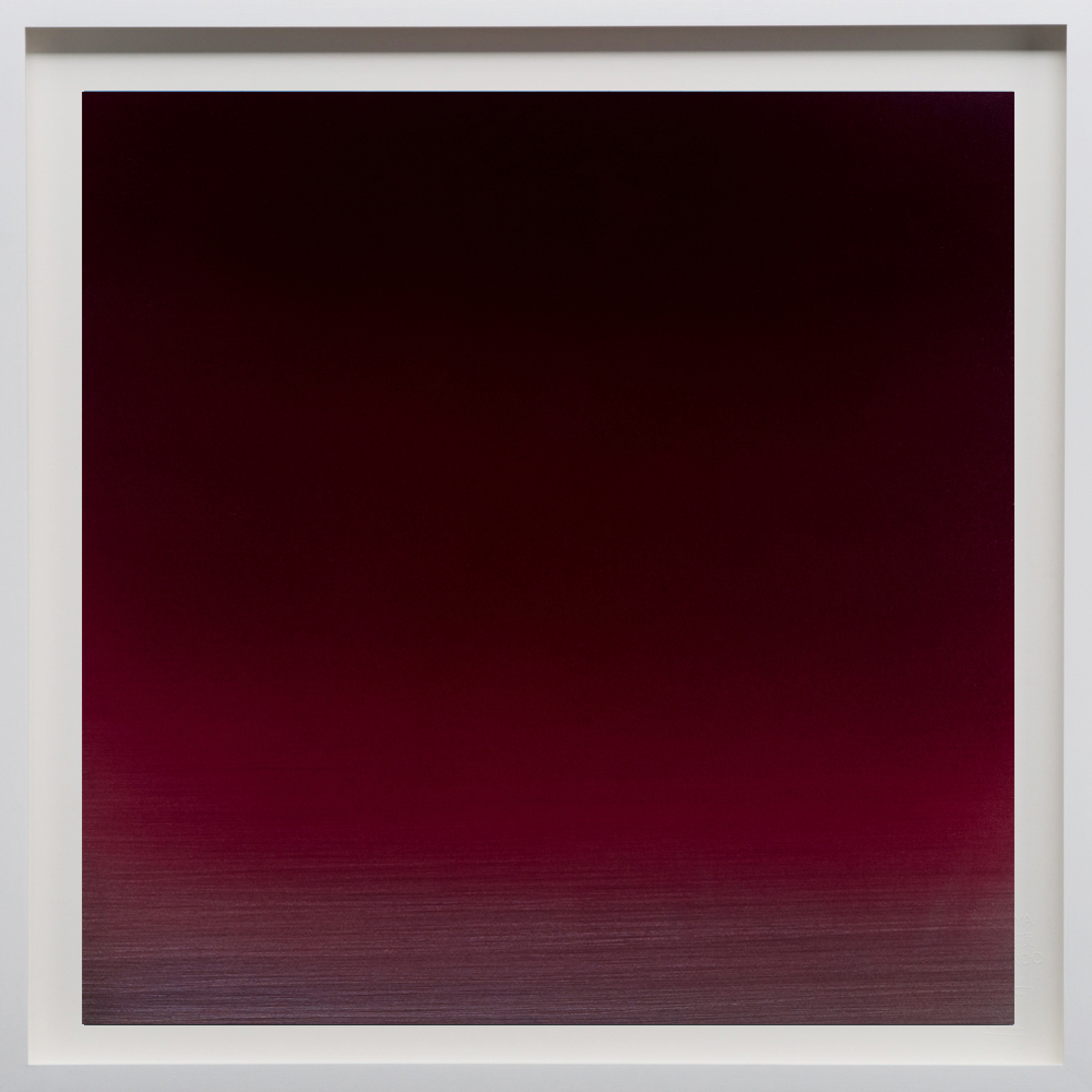 """Red/Black, 2018, 48""""sq. print size/ 49""""sq. frame size, Archival pigment print on acid free rag paper (stamped/numbered), framed in classic white wood frame. Edition of 50.  $4,100 unframed / $4,500 framed"""