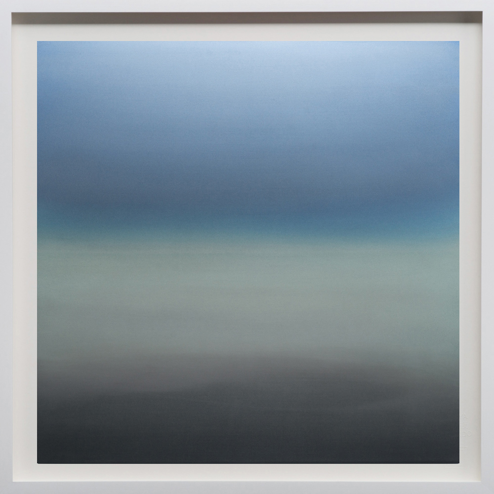 """Blue/Grey, 2018, 60""""sq. print size/ 62""""sq. frame size, Archival pigment print on acid free rag paper (stamped/numbered), framed in classic white wood frame. Edition of 50.  $6,100 unframed / $6,500 framed"""
