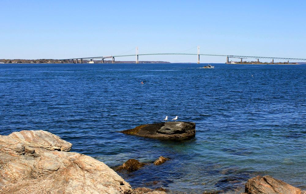 View of Newport Bridge from Fort Adams Bay Walk