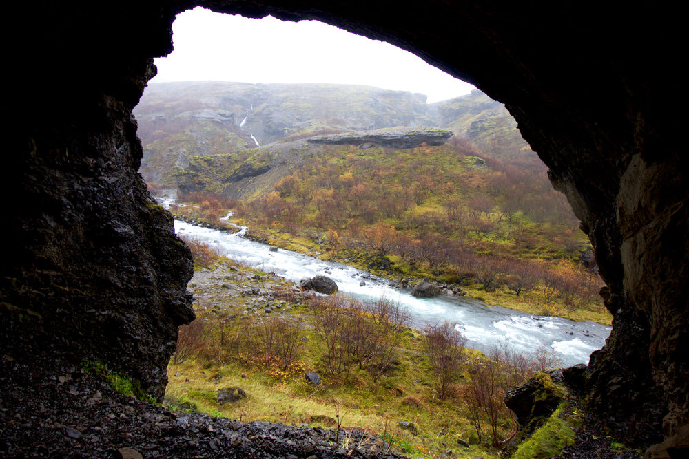 View of the river and valley from the cave.