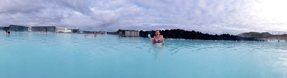 Panoramic shot of the Blue Lagoon, and me with a blue icee from the swim-up bar.