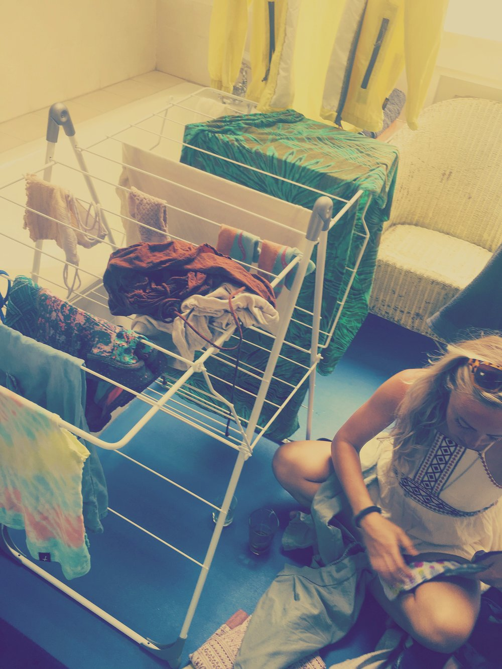 Folding and drying laundry in Paris, post-broken washing machine. Whoops.
