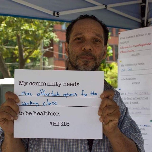 """My community needs more affordable options for the working class to be healthier."" #HI215 @tdbank_us"