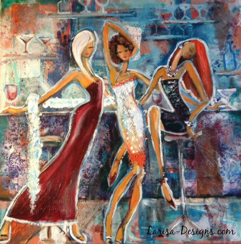 Girls Night Out~Andrea 18X18 Sold