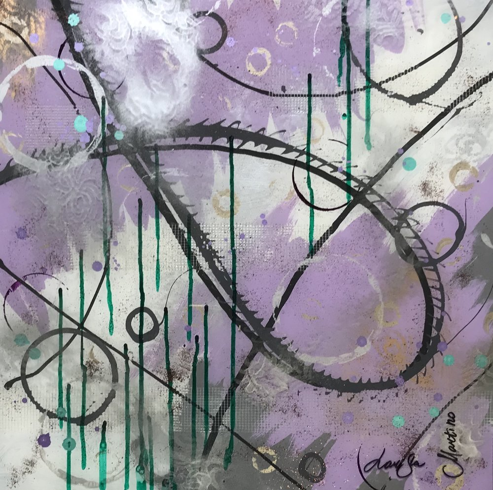 Loop collection lavender I-20X20 on glass. Available