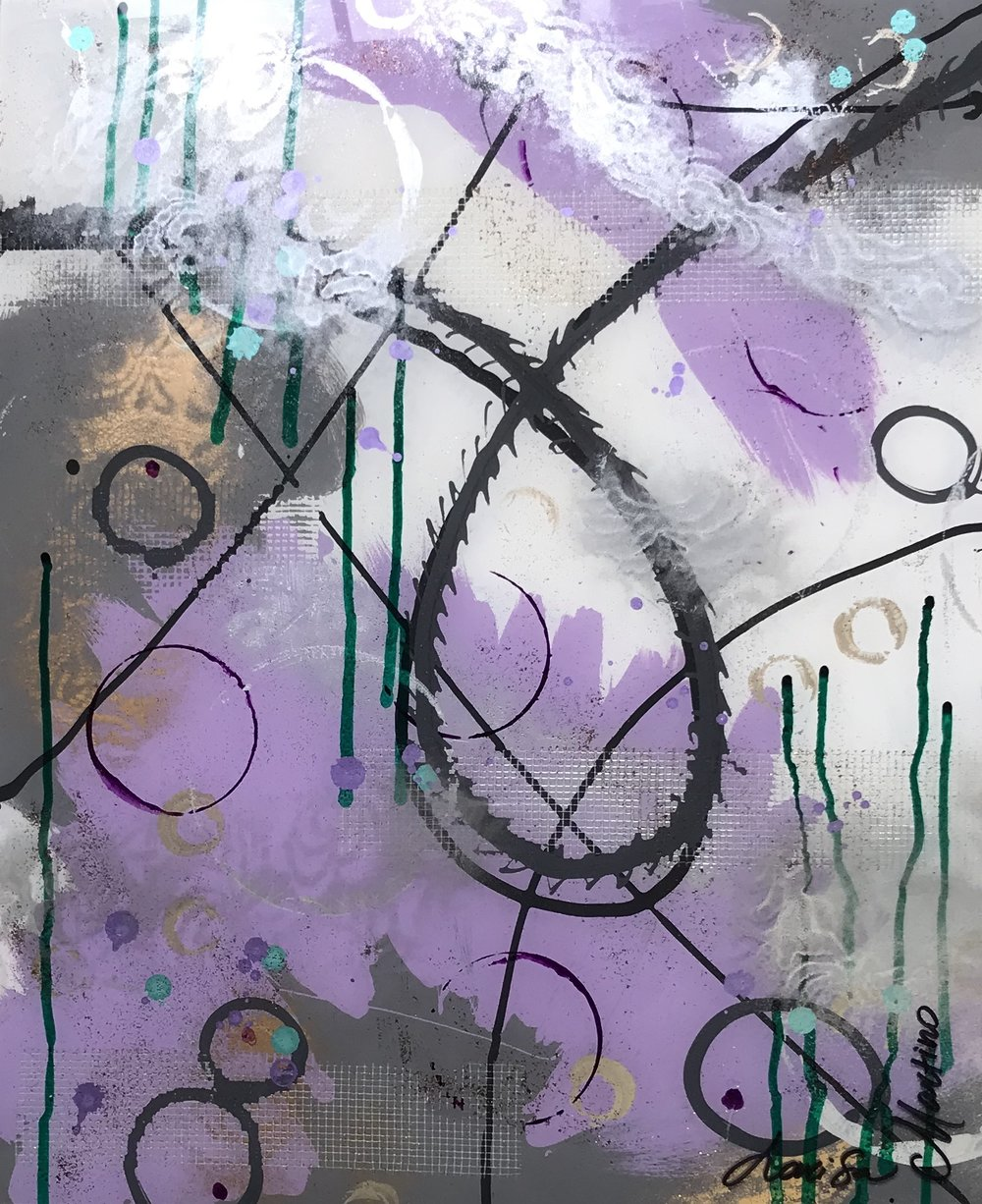 Loop collection lavender I-16X20 on glass. Available