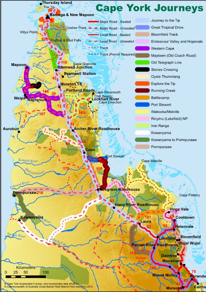 Map of Cape York tracks