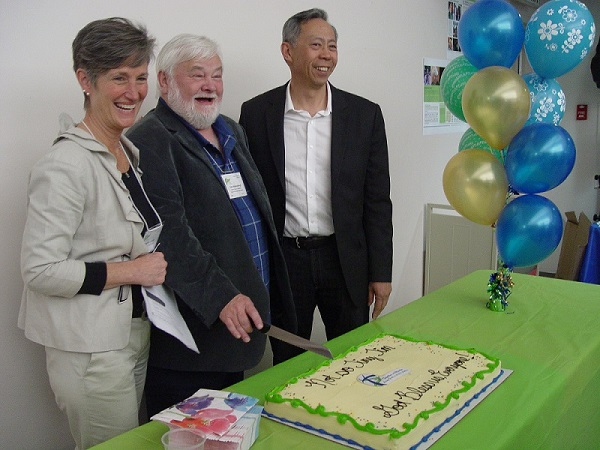 "martha asselin, yme woensdregt and howard soon cut the cake at          synod 2015:           ""not-so-tiny tim - god bless us, every one!"""