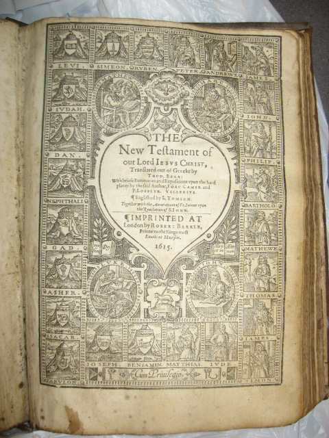 1615 edition of king james bible, from the rev. albert northrup