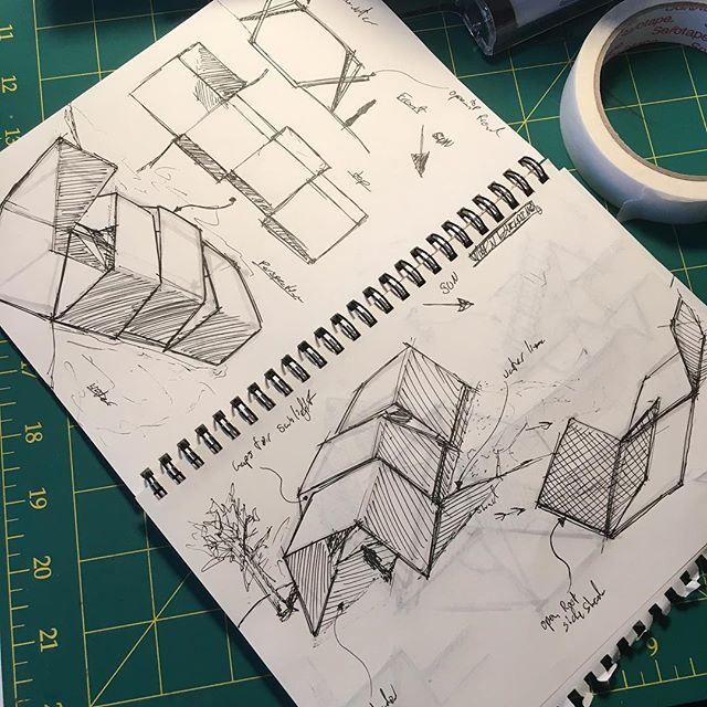 Inktober? Started Interior architecture assignment (create gallery space for botanic gardens) #architecture #intarch #inktober #sketch #sketching #galleryspace #gardens #ink
