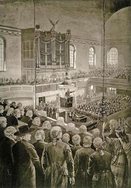"""First in war, first in peace, first in the hearts of his countrymen"" is the impassioned tribute by ""Light-horse Harry Lee"" in his eulogy to Washington, on December 26, 1799. Every seat in Zion church was filled for the Congressional memorial service. Lee, a Congressman from Virginia, served as a cavalry officer in the Revolution and was the father of the famed Civil War general."
