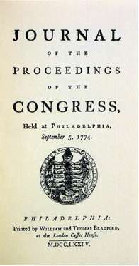 Journal of the Proceedings of the First Continental Congress, the first document authorized by Congress, included the various petitions and Thomson's record of the historic meeting.