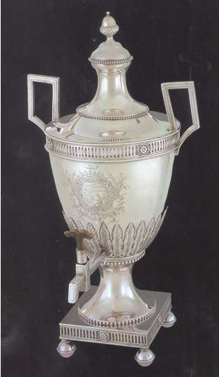 Silver tea urn given Thomson by Congress in gratitude for his 15 years as secretary. Made by silversmith Richard Humphreys, the urn is displayed at the Philadelphia Museum of Art.