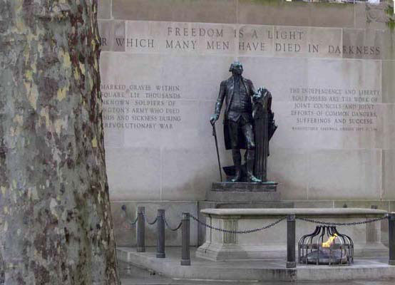 Eternal flame  honors thousands of soldiers, American and British, buried beneath the arching trees of Washington Square. Uncounted hundreds of yellow fever victims also lie here.