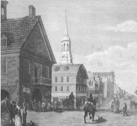 First city Hall  at 2nd & Market sts. was above market sheds (at left), which extended west as Philadelphia grew. In the background is the spire of Christ Church.
