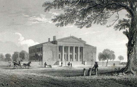 Largest lien filed in 1826 by the Linnards was against the Pennsylvania Institution for the Deaf and Dumb, at Broad & Pine Sts. Building is now part of University of the Arts. (courtesy: The Free Library of Philadelphia)