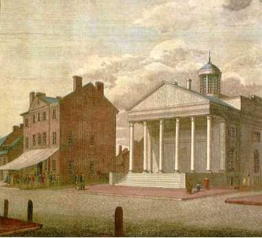 An awning shades the Tavern's entrance in this 18th-century print. At right is the Bank of Pennsylvania which rented Carpenters' Hall while this imposing structure was underway.