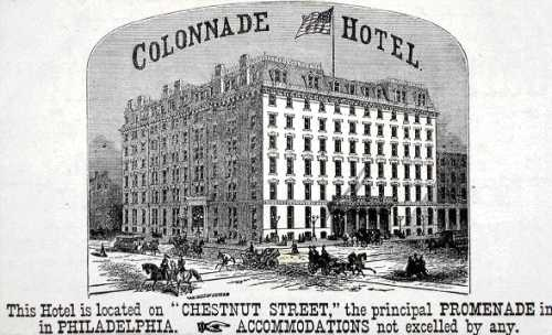 Colonnade Hotel, on the southwest corner of 15th & Chestnut Sts., enlarged and managed by Crump, could house 400 guests and was known for its cuisine. (courtesy: The Free Library of Philadelphia)