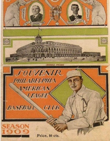 Souvenir program celebrated opening day (1909) of Shibe Park, the nation's first stadium erected with steel and reinforced concrete. The Philadelphia Athletics honored the day by trouncing Boston 8-1.