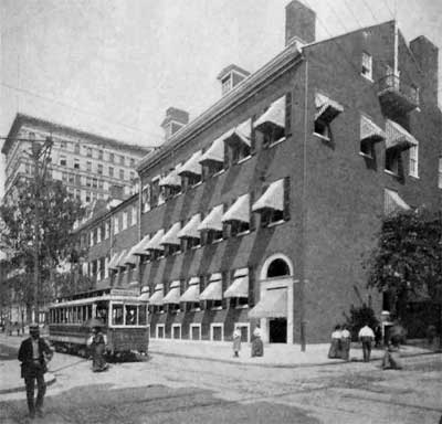 Early 20th-century view of the Philadelphia Club, built for Thomas Butler who left a bequest to Daniel R. Knight. At left is the Witherspoon Building, erected by another family of Company members, the Steeles.  (c ourtesy: The Free Library of Philadelphia)