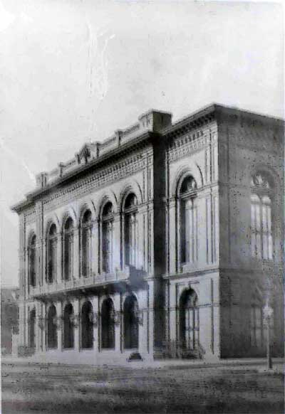Academy of Music was intended to be sheathed in marble. A shortage of funds compelled directors to settle for a modest brick exterior.  (c ourtesy: The Free Library of Philadelphia)