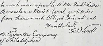 "The Carpenters' Company was Nevell's ""safety net"" in his closing five years. This touching letter — written in his strong, clear hand — thanks the Company for their help, with this postscript: ""If it would be convenient, I should be glad of a little firewood before it grows dearer."""