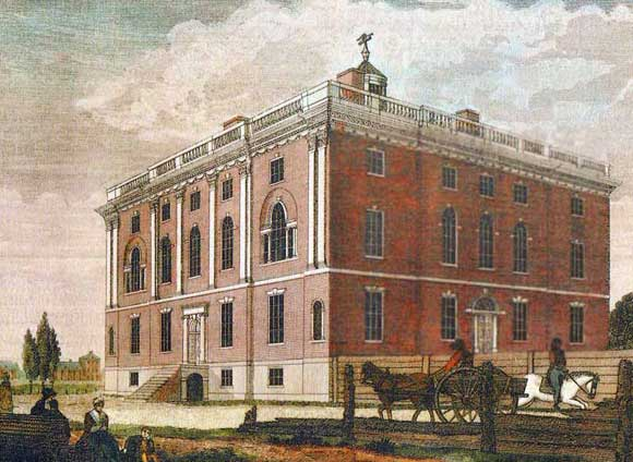 Williams and his close associate, Joseph Rakestraw, died three years before the palatial presidential mansion was completed. Both died within a few months of each other (1794) during the annual yellow fever epidemic. Rejected by President-elect Adams, the structure was purchased (1800) by the University of Pennsylvania.