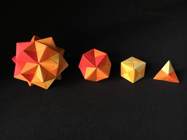 Origami polyhedra made from 3, 6, 12, and 30 senobe units. Come and see us at the Space & Science Festival on May 13 to learn how to make them. spacesciencefestival.org