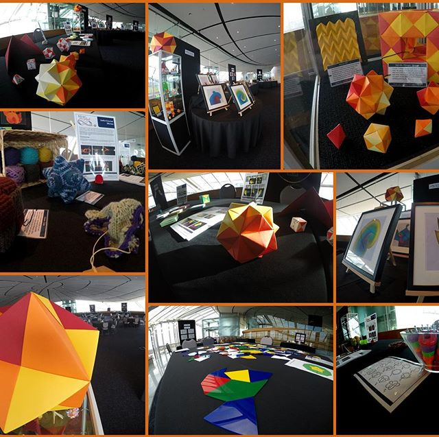 After a busy day setting up, we're all ready for the Maths Craft Festival @aucklandmuseum this weekend, 10am to 5pm. Come and join us to learn some mathematical crafts or listen to one of our public talks. See mathscraftnz.org for full details, including information about our free bus service from south Auckland on Sunday. Free entry with Museum ticket (which is free to NZ residents).
