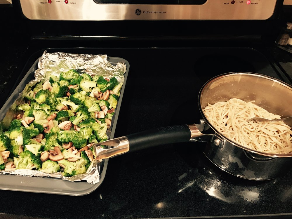 gluten free pesto pasta and vegetables