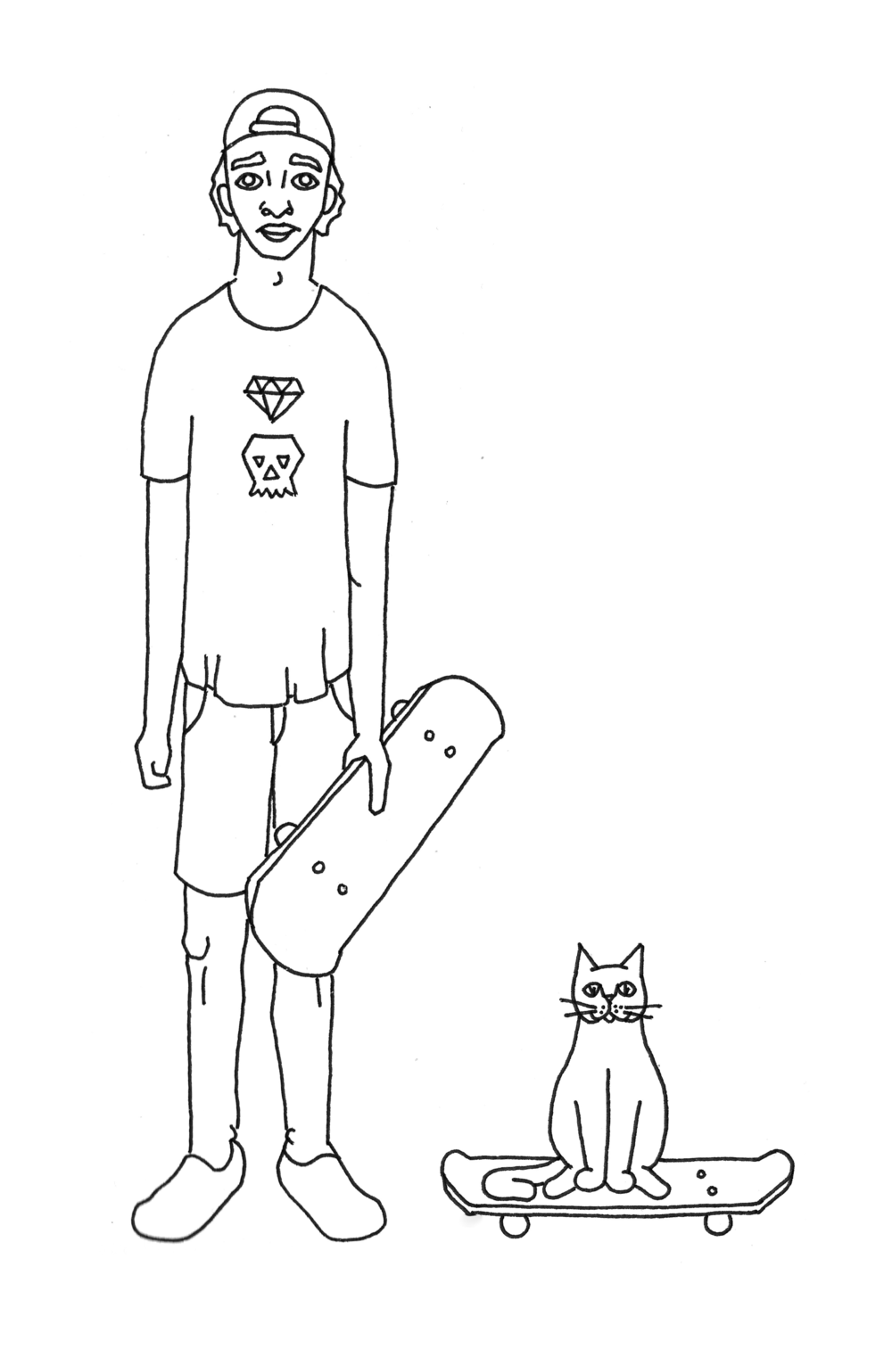 Skater Cats  Pen on Paper Spring 2018