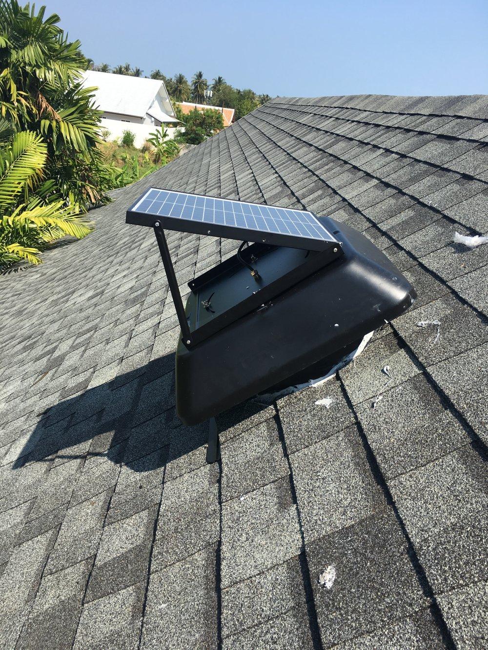 Solar panel angled to sun aspect