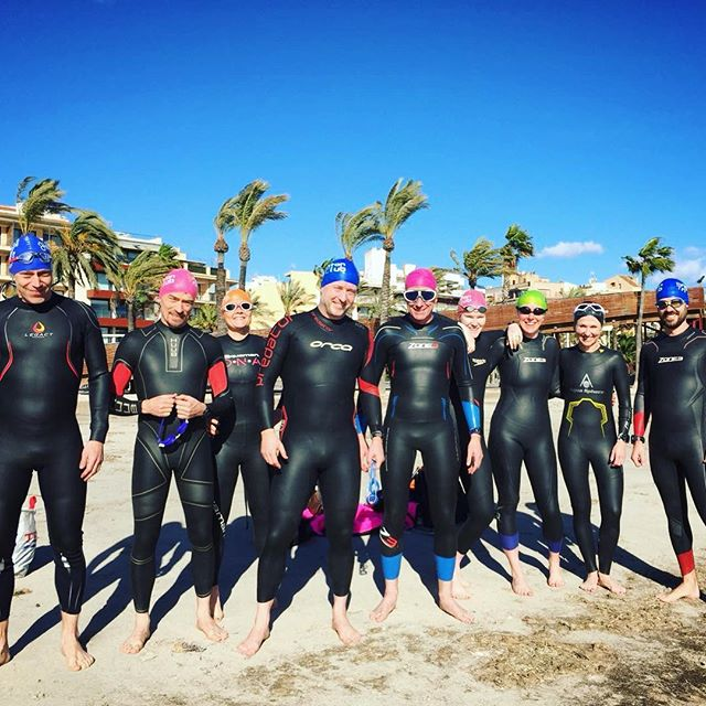 Come on in, the water's fine 🌊 @brightontriclub suited up for a dip in Alcudia bay - home of the @ironmantri 70.3 swim start... • • • #wetsuitlife #swimbikerun #halfiron #icyicyohsospicy #coldwater #swimming #quickdip #openwater #skillsanddrills