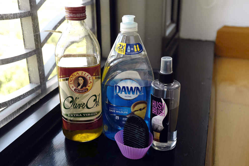 olive oil, dishwashing liquid, spot cleaner, brush egg and a silicon cupcake mold