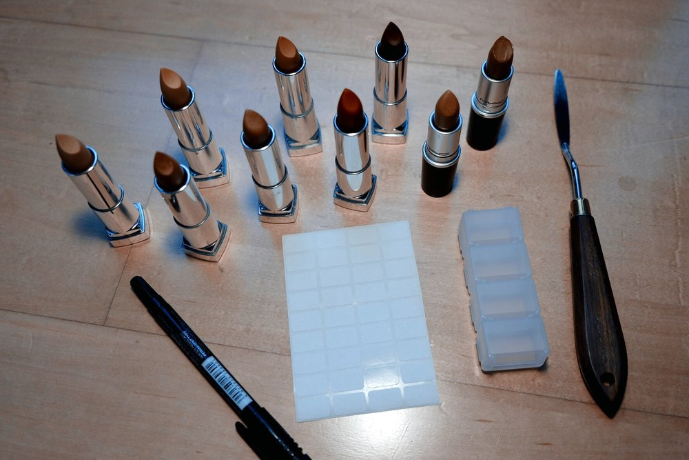 what you need: lipsticks, containers, labels, marker and a spatula