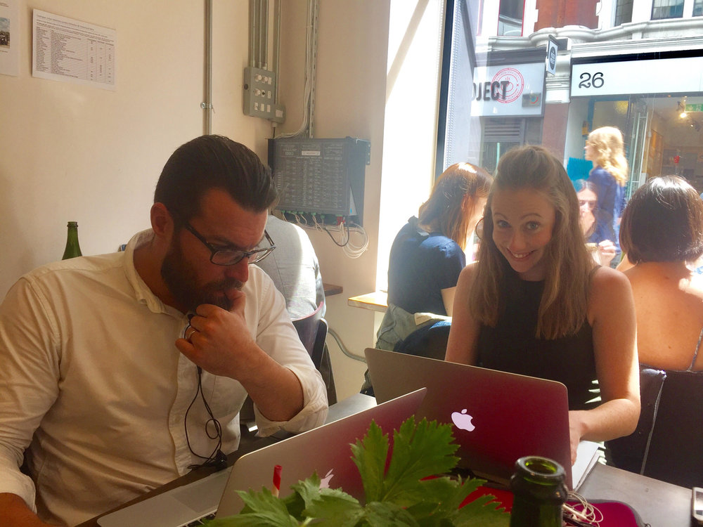 Nat and our pal Gary doing some hardcore #freelancing Soho style