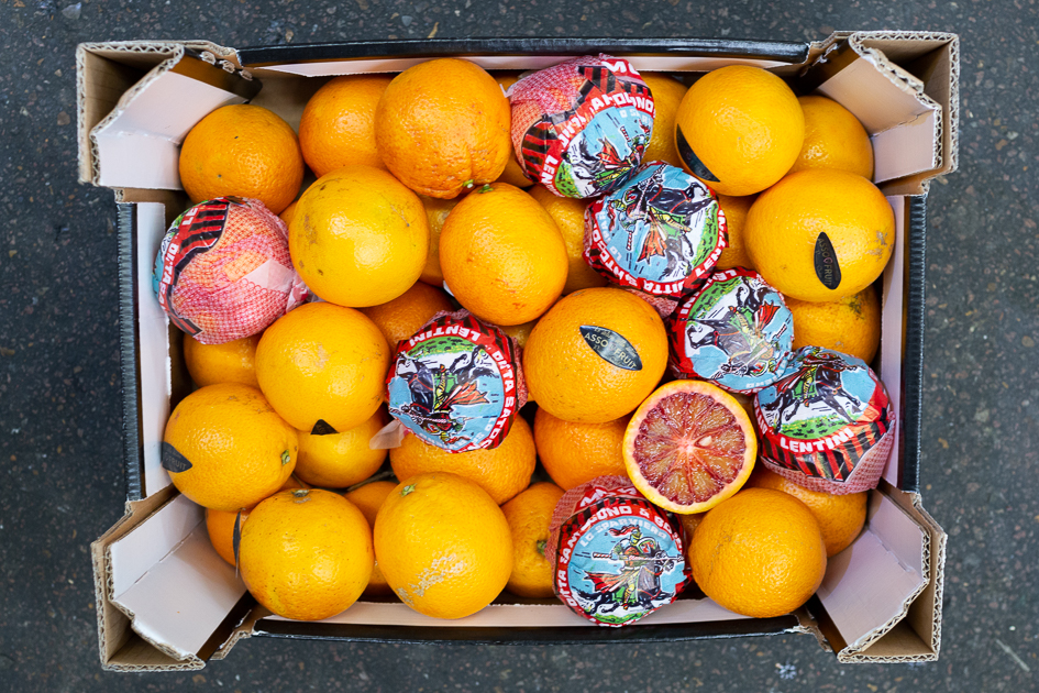Blood - Moro - Moro, a later variety of blood orange, is the most common blood orange that we import from Sicily into in the UK. See our detailed product info page here. Italian season approx. Jan-Feb.