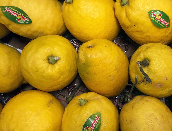 Cedros - It's the pith and skin of Cedro that is prized. In Sicily, cedro is typically served as a simple slice of the fruit, sometimes sprinkled with salt. We also source Diamante (Diamond) citrus - mature specimens can weigh up to a kilo! Peak Italian season approx. Nov-March, but can be sourced most of year.