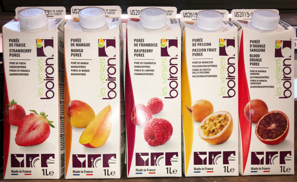 NEW! Boiron ambient purees: 1 litre cartons (6 to box) also sold as units. Raspberry (£6.25), blood orange (£5.35), pineapple (£5.35), yellow peach (£4.45), passion fruit (£6.25) and more