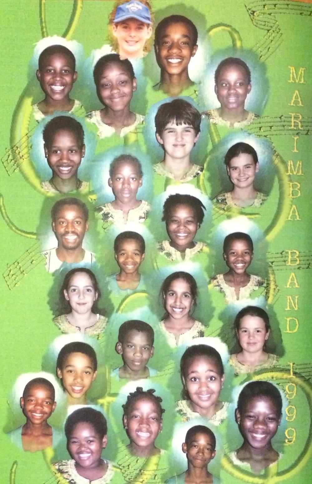 Thornhill Marimba Band, 1999. (From top left to bottom right, vertically: Yvette, Lame, Michael Sibanda, Lilliana, Otto, Setso, Tshepiso, Amy, Among, Sharon, Seele, Boikanyo, Charlotte, Kealeboga, Careen, Keletso, Jaanki, Mogi, Karabo, Thamani, Amber, Lenitame, Sara, Sakhile)