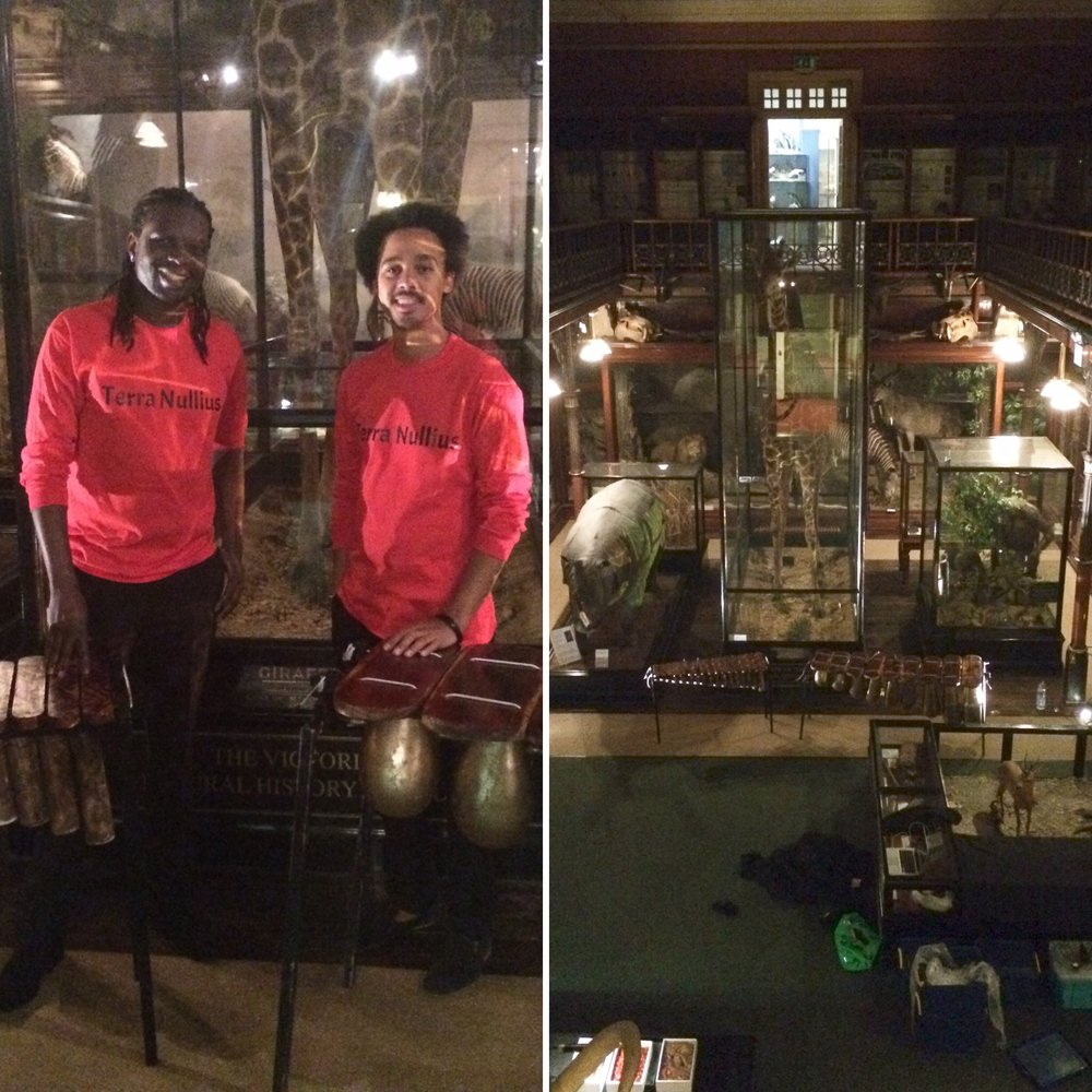 Fully kitted with our Terra Nullius red shirts in the incredibly cool room we got to play our African marimba music in.