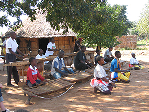 Venancio Mbande performing with his Timbila  group, Mozambique, 2006. The Timbila of the Chopi people was the blueprint for the marimbas designed by Olof Axelsson in the 1980s.