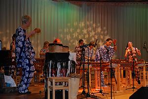 Zimba Marimba Band, Sweden, 2006. The band, led by Peta Axelsson,plays on Olof Axelsson's Chopi-style marimbas.