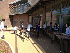 Teaching African music on the marimba to school students in Surrey