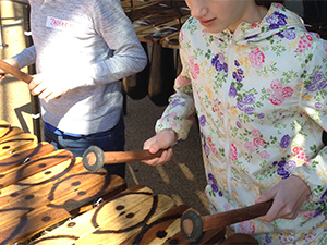 African marimba music workshops with beginner kids during school's world music festival